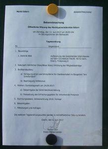 Tagesordnung zum öffentlichen Teil der Gemeinderatssitzung am 13.06.2017